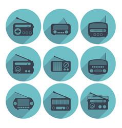 set radio icons flat style vector image
