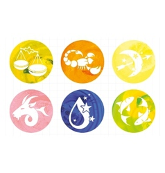 Signs of the zodiac in watercolor circles vector
