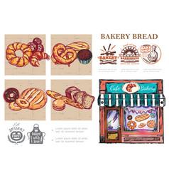 sketch baking food composition vector image