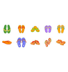 slippers icon set cartoon style vector image