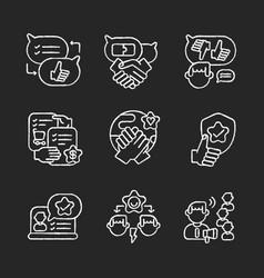 Soft skills chalk white icons set on black vector