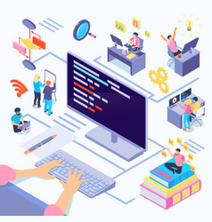 software developers isometric vector image