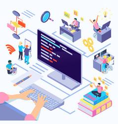 Software developers isometric vector