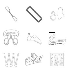 Sports equipment for climbing line icons of set vector