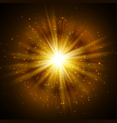 Star burst with sparkles light effect gold vector