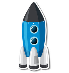 Sticker template with spaceship isolated vector