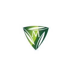 Swoosh leaf dynamic rotation center letter m vector