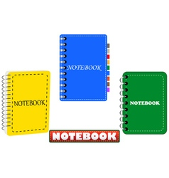 three in different colors notepad vector image