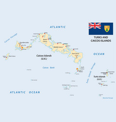 Turks and caicos islands map with flag vector