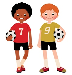 Two children boys football players vector image