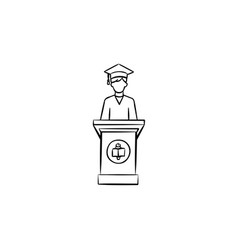 university graduation student hand drawn icon vector image