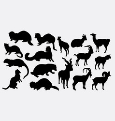 weasel and goat silhouette vector image