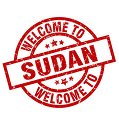 welcome to sudan red stamp vector image