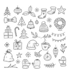 winter holiday doodle set sketch christmas gift vector image