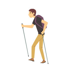 young man carrying hiking backpack walking vector image