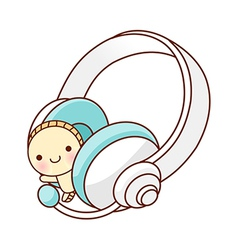 A view of headphones vector image
