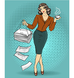 business woman in retro pop vector image vector image