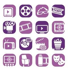 color cinema icons setjpg vector image vector image