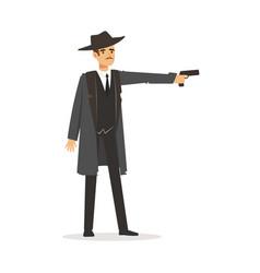 mafia hitman character in gray coat and fedora hat vector image vector image