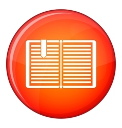 Open book with a bookmark icon flat style vector