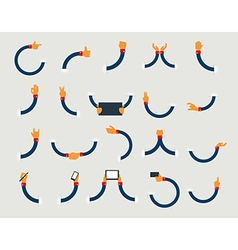 set of flat hand icons design vector image
