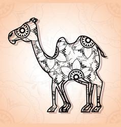 Camel mandala boho style vector