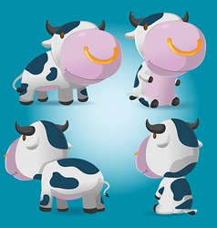 Cow Cartoon Character Pose Set vector image vector image