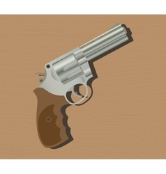 gun pistols isolated revolver wood background vector image