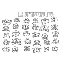 hand drawn butterflies set coloring book page vector image vector image