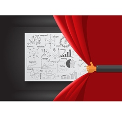 Hand opening red curtain vector image vector image