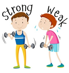 Opposite adjective with strong and weak vector image vector image
