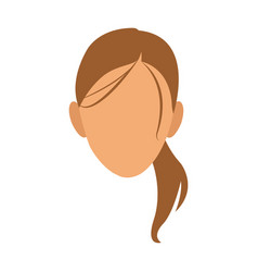 silhouette face girl cartoon vector image