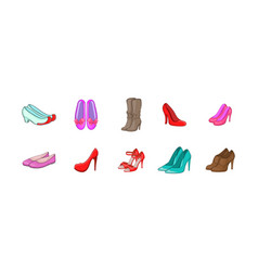 woman shoes icon set cartoon style vector image