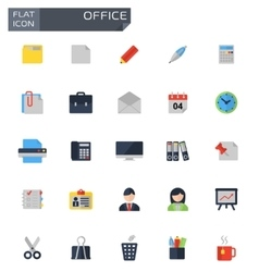 flat office icons set vector image vector image
