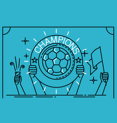 football soccer player holding up a trophy as a vector image vector image
