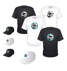 print of octopus on a t-shirt and cap vector image