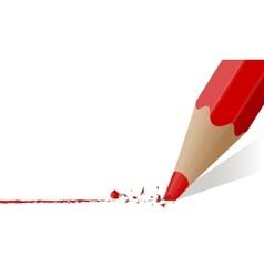 Red pencil with a broken rod vector image vector image