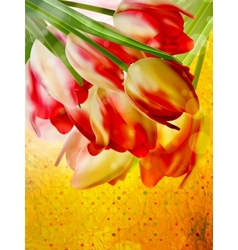 Retro card with tulips flowers EPS 10 vector image vector image