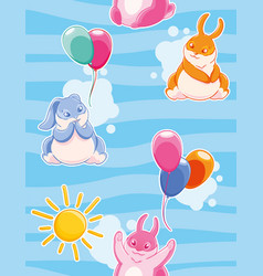 Seamless pattern with with funny rabbits painted vector