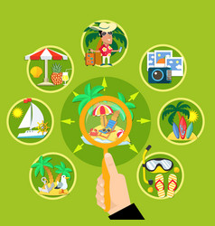 Summer tourism circle concept vector
