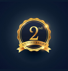 2nd anniversary celebration badge label in golden vector image vector image