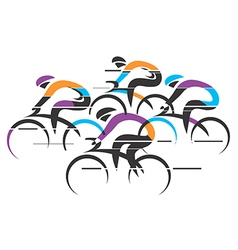 Cyclists racers colorful background vector image vector image