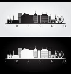 fresno usa skyline and landmarks silhouette vector image vector image