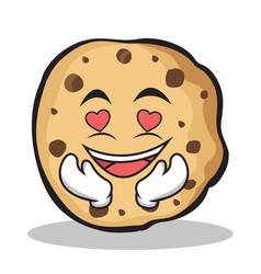 kissing face sweet cookies character cartoon vector image