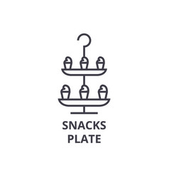 snacks plate line icon outline sign linear vector image vector image