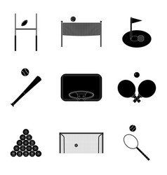 sport icons set black silhouette vector image vector image