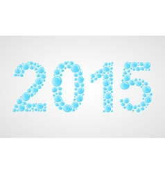 3D happy new year 2015 text design Water drops vector image