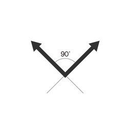 90 degrees angle with arrows stock isolated on vector