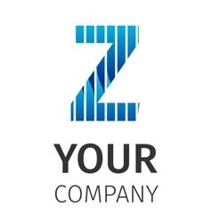 Abstract blue logo Z vector image