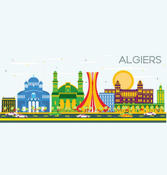 algiers skyline with color buildings and blue sky vector image